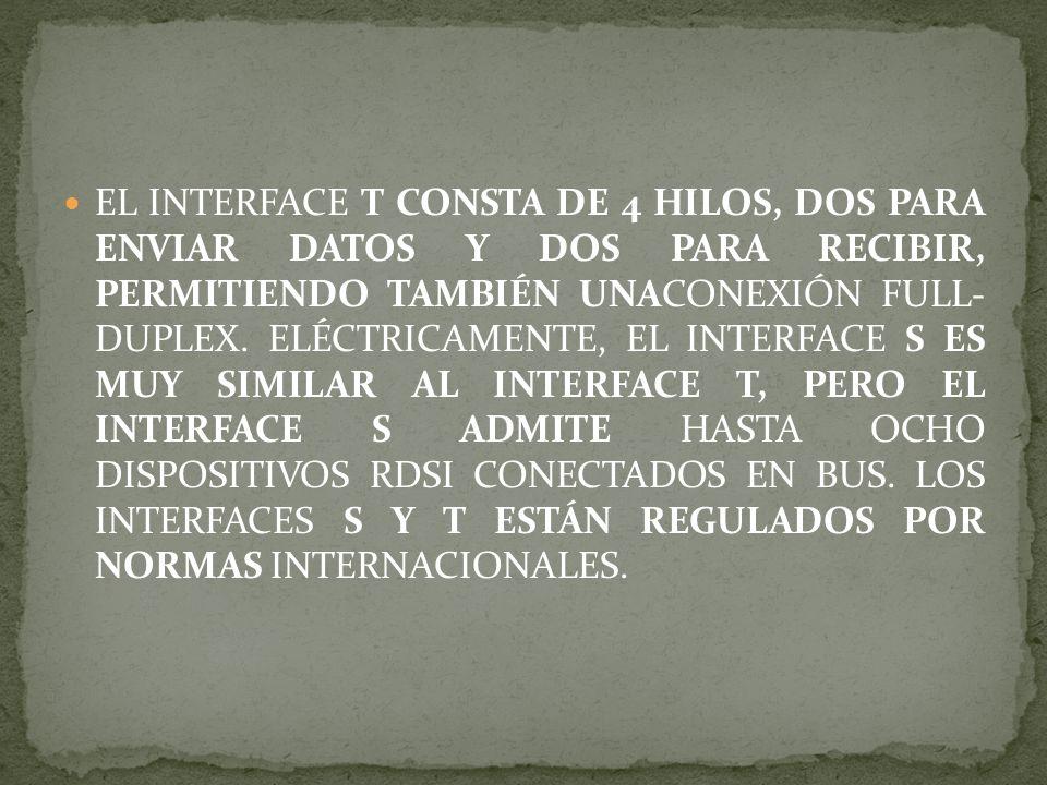 EL INTERFACE T CONSTA DE 4 HILOS, DOS PARA ENVIAR DATOS Y DOS PARA RECIBIR, PERMITIENDO TAMBIÉN UNACONEXIÓN FULL- DUPLEX. ELÉCTRICAMENTE, EL INTERFACE