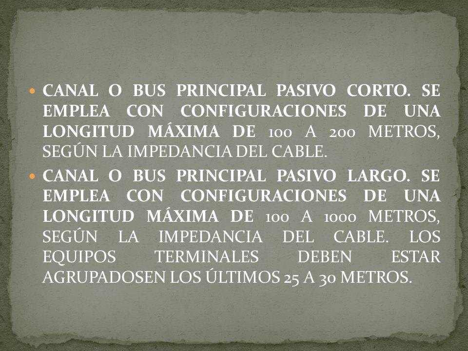 CANAL O BUS PRINCIPAL PASIVO CORTO. SE EMPLEA CON CONFIGURACIONES DE UNA LONGITUD MÁXIMA DE 100 A 200 METROS, SEGÚN LA IMPEDANCIA DEL CABLE. CANAL O B