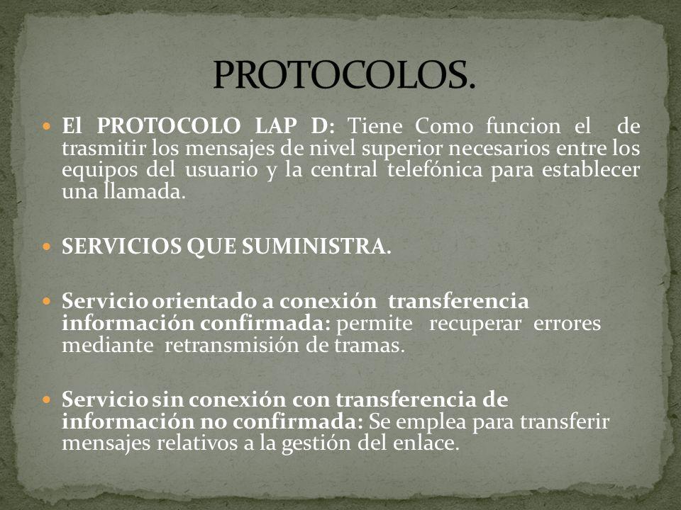 El PROTOCOLO LAP D: Tiene Como funcion el de trasmitir los mensajes de nivel superior necesarios entre los equipos del usuario y la central telefónica