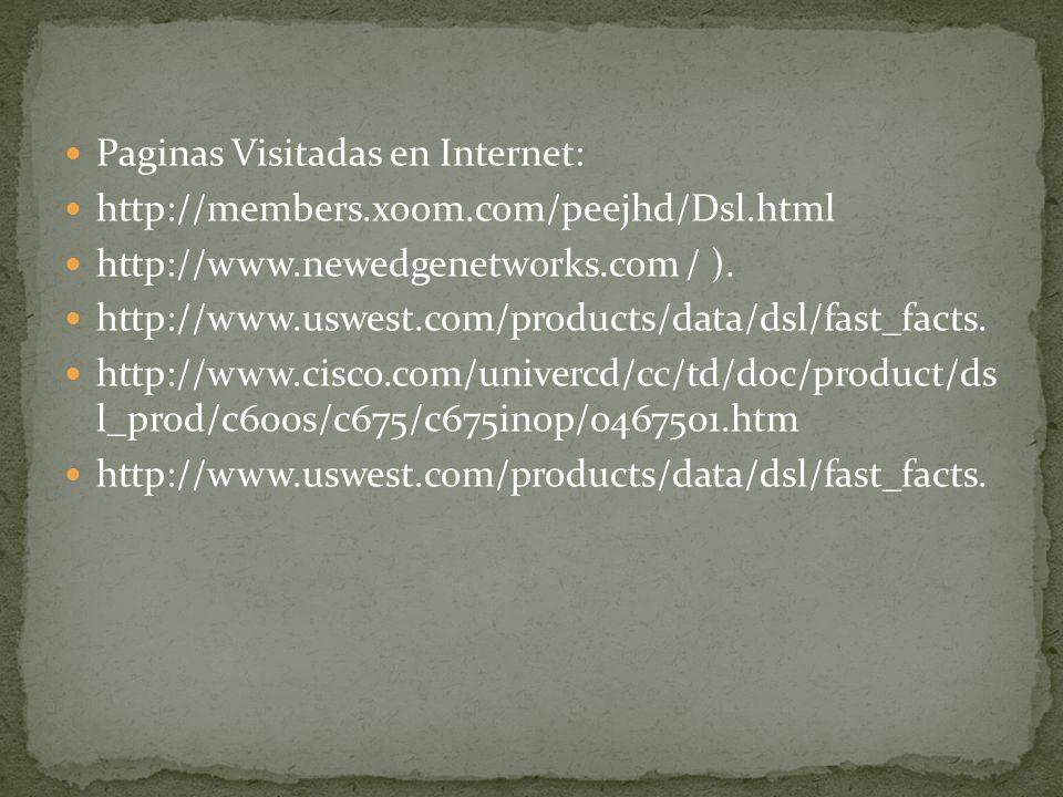 Paginas Visitadas en Internet: http://members.xoom.com/peejhd/Dsl.html http://www.newedgenetworks.com / ). http://www.uswest.com/products/data/dsl/fas