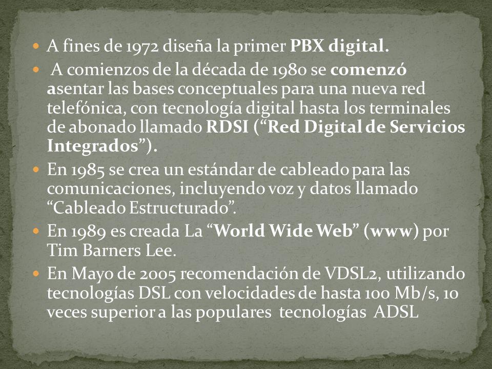 A fines de 1972 diseña la primer PBX digital. A comienzos de la década de 1980 se comenzó asentar las bases conceptuales para una nueva red telefónica