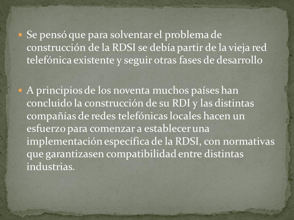 Se pensó que para solventar el problema de construcción de la RDSI se debía partir de la vieja red telefónica existente y seguir otras fases de desarr