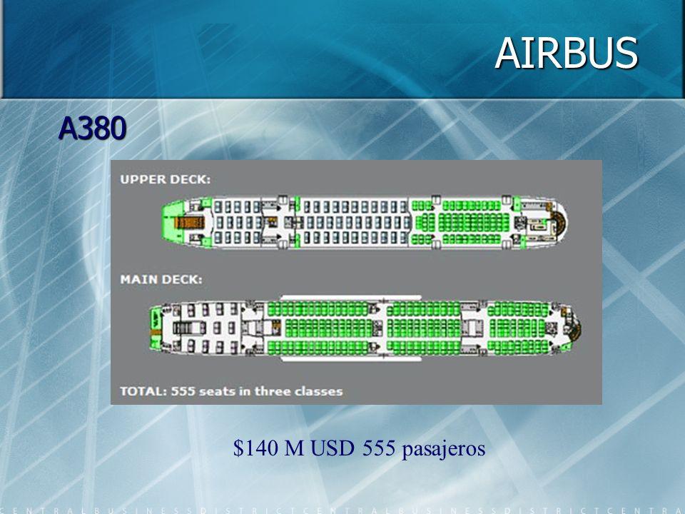 AIRBUS A380 $140 M USD 555 pasajeros