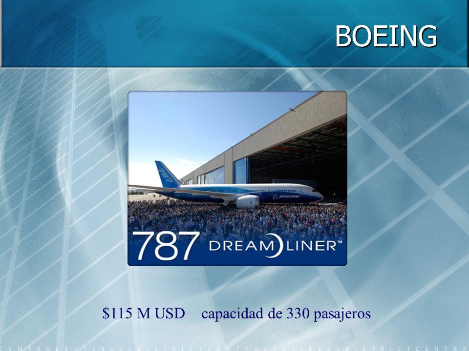 BOEING $115 M USD capacidad de 330 pasajeros