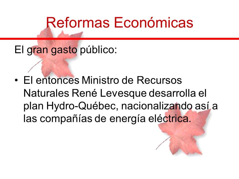 Reformas Económicas El gran gasto público: El entonces Ministro de Recursos Naturales René Levesque desarrolla el plan Hydro-Québec, nacionalizando as