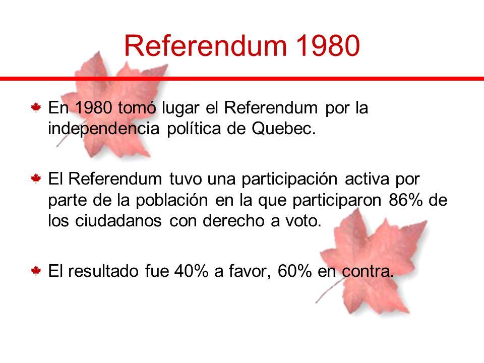 Referendum 1980 En 1980 tomó lugar el Referendum por la independencia política de Quebec. El Referendum tuvo una participación activa por parte de la