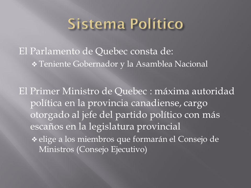 El Parlamento de Quebec consta de: Teniente Gobernador y la Asamblea Nacional El Primer Ministro de Quebec : máxima autoridad política en la provincia