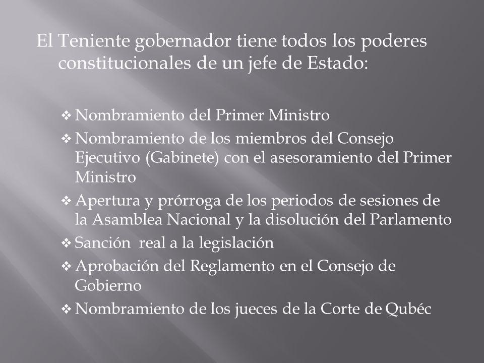 El Teniente gobernador tiene todos los poderes constitucionales de un jefe de Estado: Nombramiento del Primer Ministro Nombramiento de los miembros de