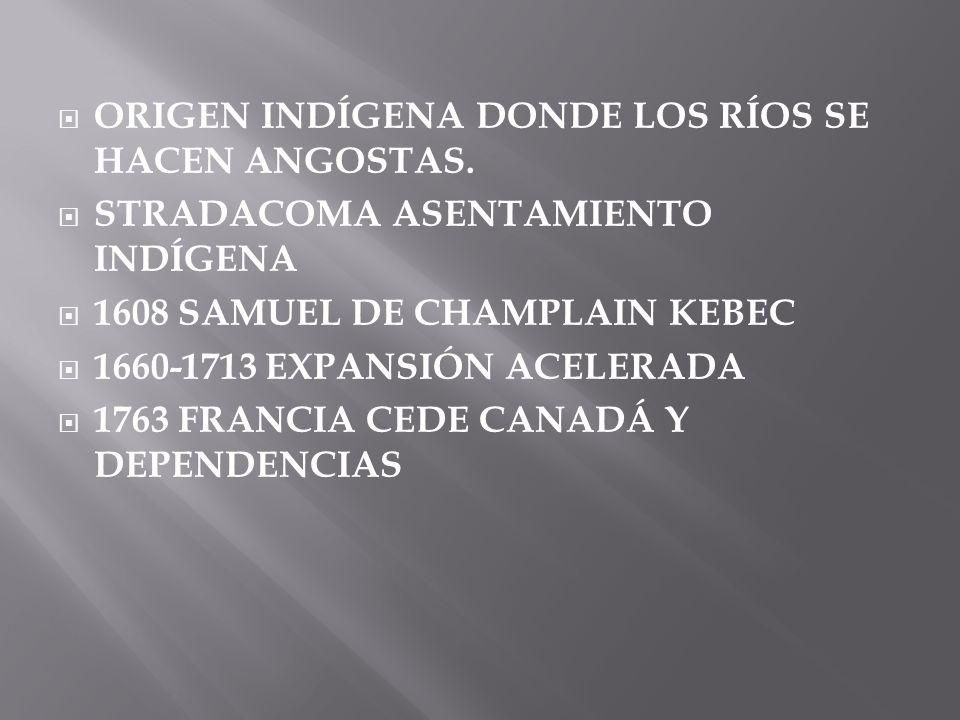 ORIGEN INDÍGENA DONDE LOS RÍOS SE HACEN ANGOSTAS. STRADACOMA ASENTAMIENTO INDÍGENA 1608 SAMUEL DE CHAMPLAIN KEBEC 1660-1713 EXPANSIÓN ACELERADA 1763 F