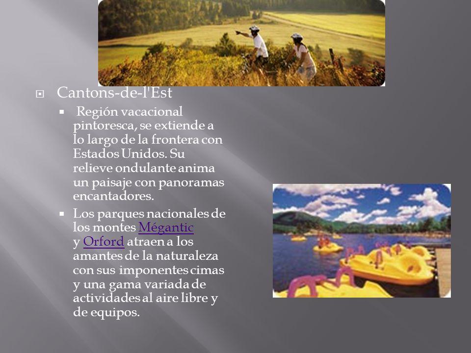 Cantons-de-l'Est Región vacacional pintoresca, se extiende a lo largo de la frontera con Estados Unidos. Su relieve ondulante anima un paisaje con pan