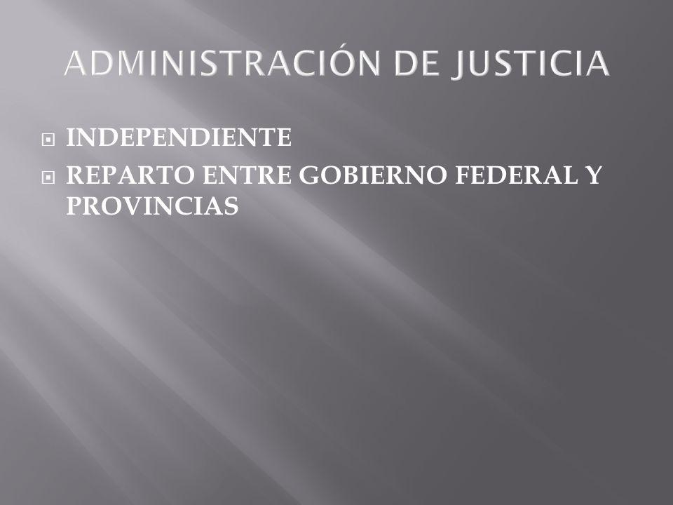 ADMINISTRACIÓN DE JUSTICIA INDEPENDIENTE REPARTO ENTRE GOBIERNO FEDERAL Y PROVINCIAS