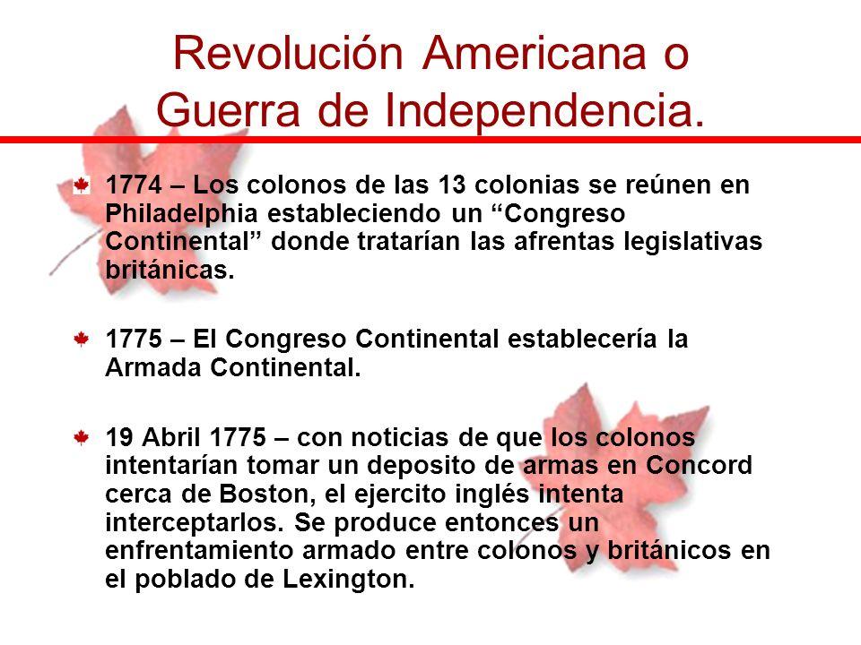 1774 – Los colonos de las 13 colonias se reúnen en Philadelphia estableciendo un Congreso Continental donde tratarían las afrentas legislativas britán