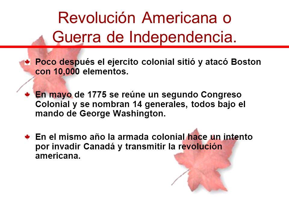 Poco después el ejercito colonial sitió y atacó Boston con 10,000 elementos. En mayo de 1775 se reúne un segundo Congreso Colonial y se nombran 14 gen