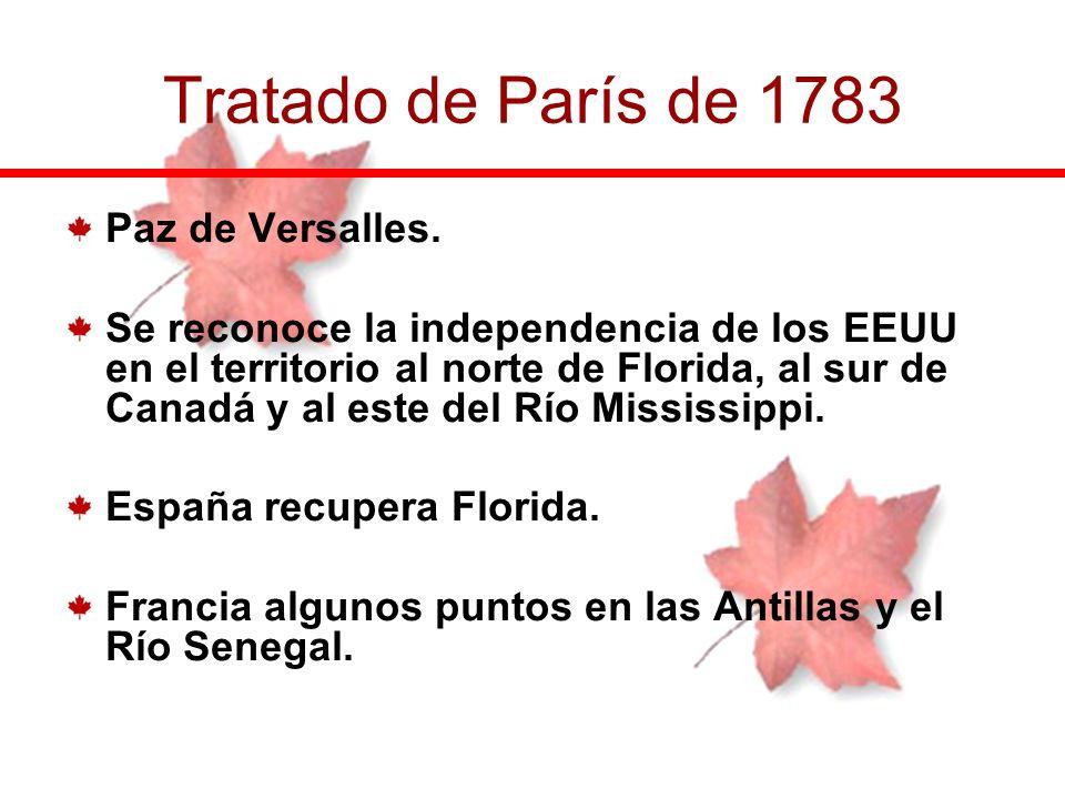 Paz de Versalles. Se reconoce la independencia de los EEUU en el territorio al norte de Florida, al sur de Canadá y al este del Río Mississippi. Españ