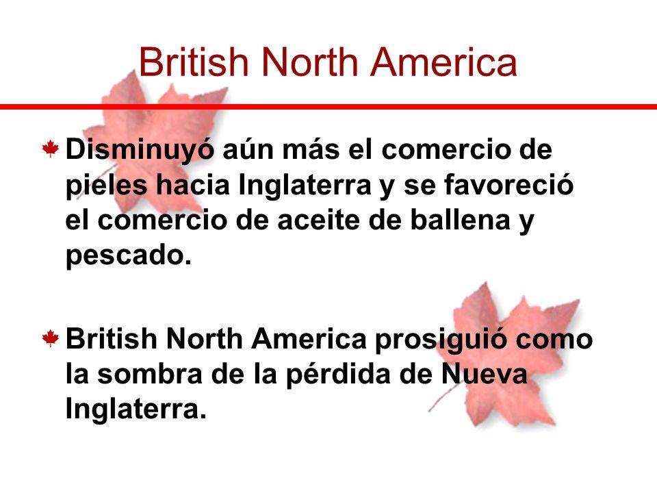 Disminuyó aún más el comercio de pieles hacia Inglaterra y se favoreció el comercio de aceite de ballena y pescado. British North America prosiguió co