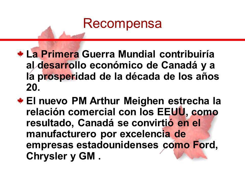 La Primera Guerra Mundial contribuiría al desarrollo económico de Canadá y a la prosperidad de la década de los años 20. El nuevo PM Arthur Meighen es