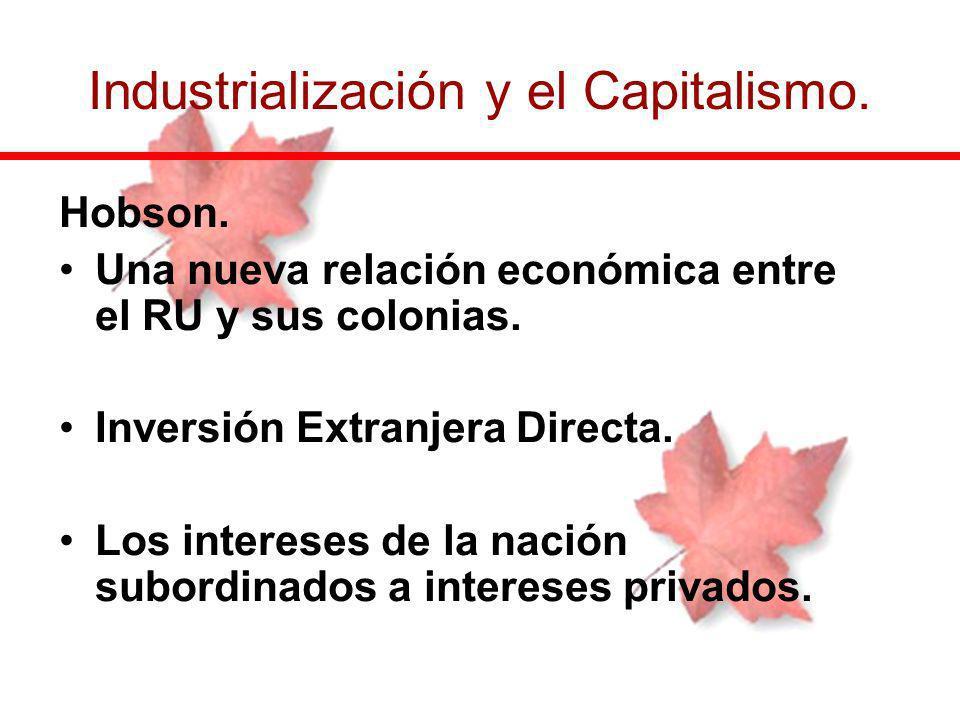 Hobson. Una nueva relación económica entre el RU y sus colonias. Inversión Extranjera Directa. Los intereses de la nación subordinados a intereses pri