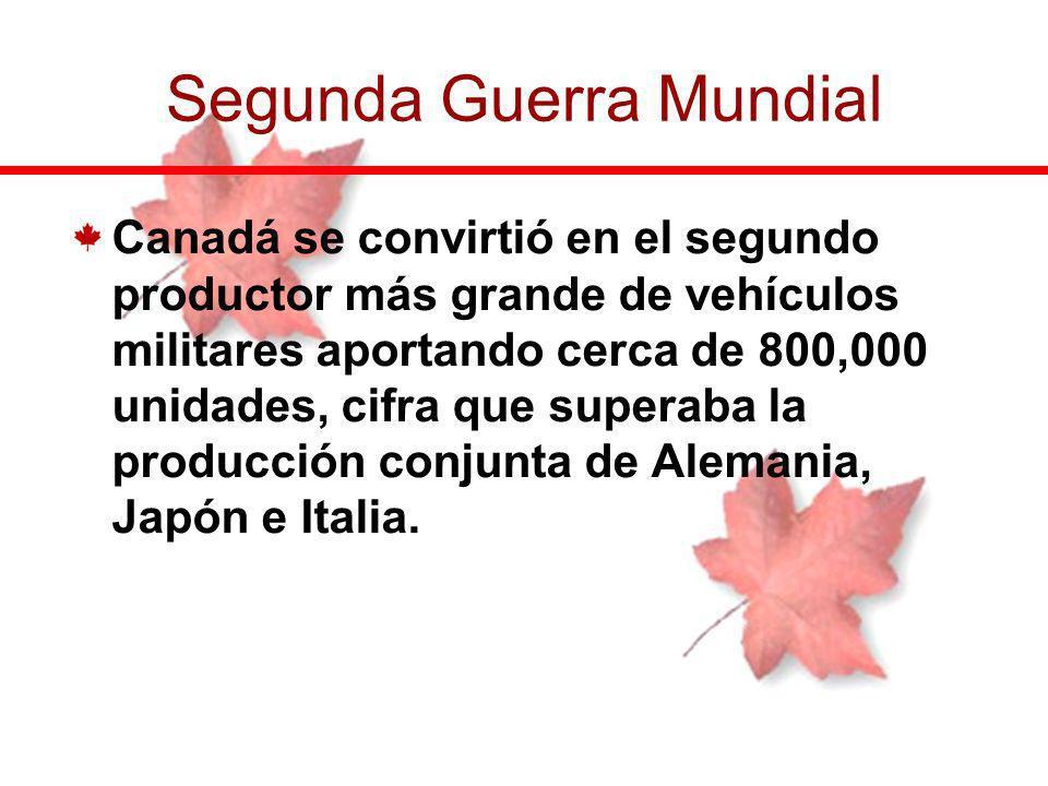 Canadá se convirtió en el segundo productor más grande de vehículos militares aportando cerca de 800,000 unidades, cifra que superaba la producción co