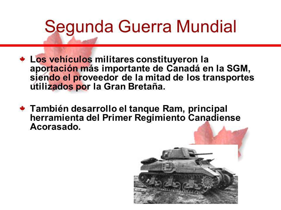 Los vehículos militares constituyeron la aportación más importante de Canadá en la SGM, siendo el proveedor de la mitad de los transportes utilizados