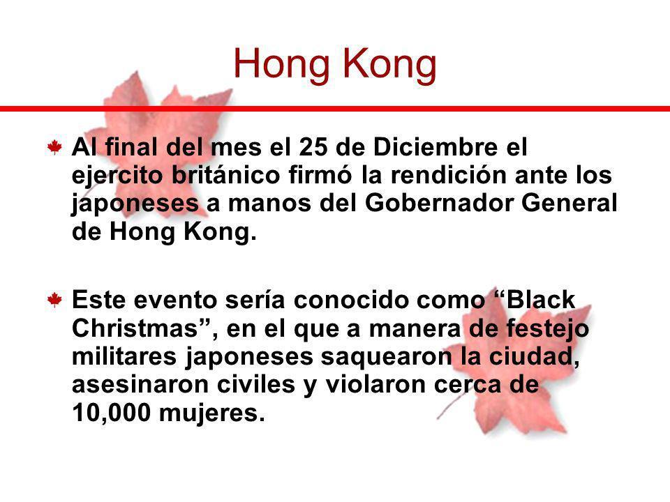 Al final del mes el 25 de Diciembre el ejercito británico firmó la rendición ante los japoneses a manos del Gobernador General de Hong Kong. Este even