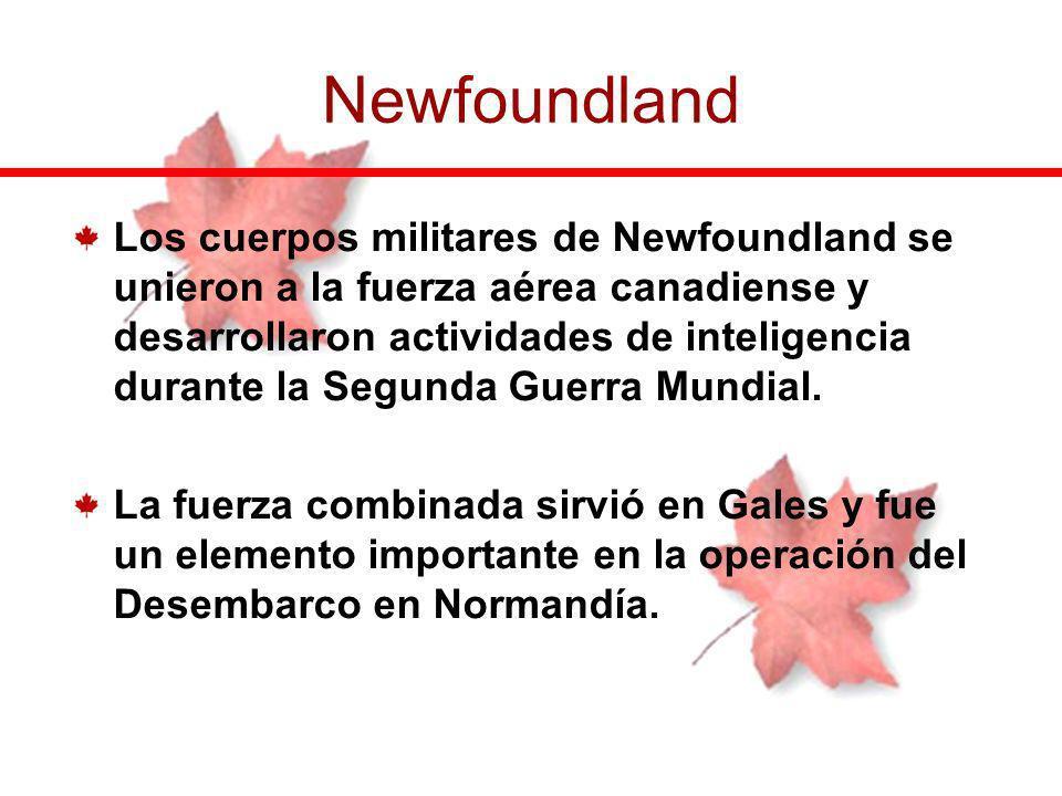 Los cuerpos militares de Newfoundland se unieron a la fuerza aérea canadiense y desarrollaron actividades de inteligencia durante la Segunda Guerra Mu