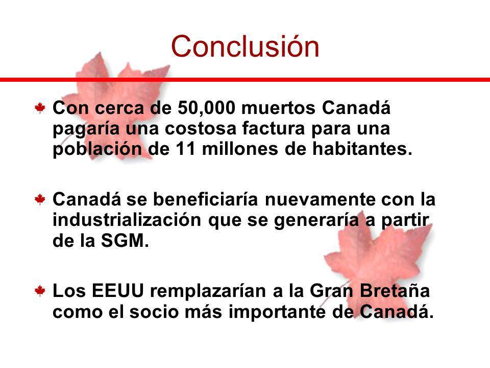 Con cerca de 50,000 muertos Canadá pagaría una costosa factura para una población de 11 millones de habitantes. Canadá se beneficiaría nuevamente con