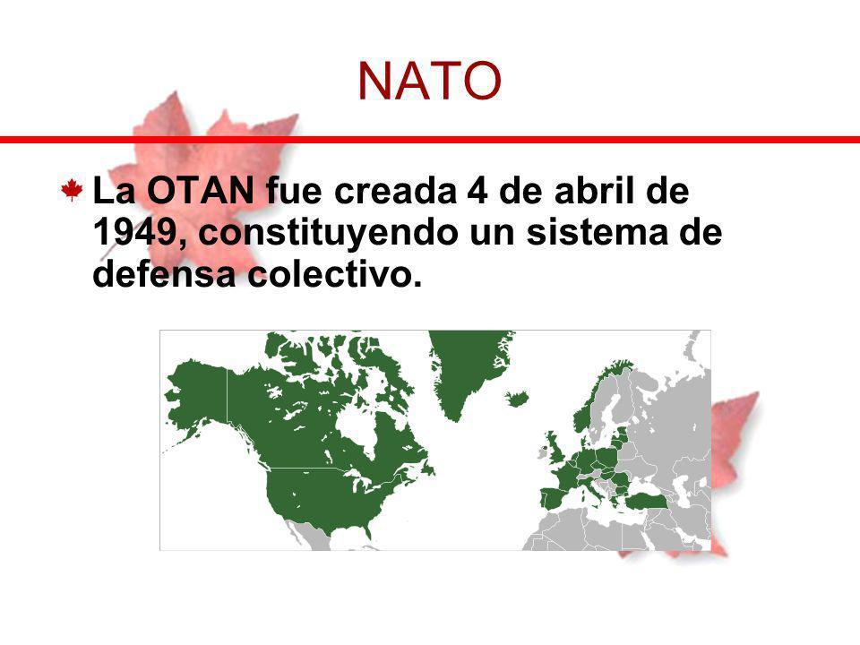 La OTAN fue creada 4 de abril de 1949, constituyendo un sistema de defensa colectivo. NATO