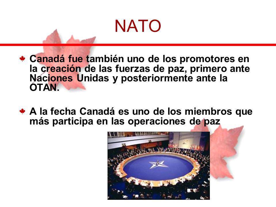 Canadá fue también uno de los promotores en la creación de las fuerzas de paz, primero ante Naciones Unidas y posteriormente ante la OTAN. A la fecha