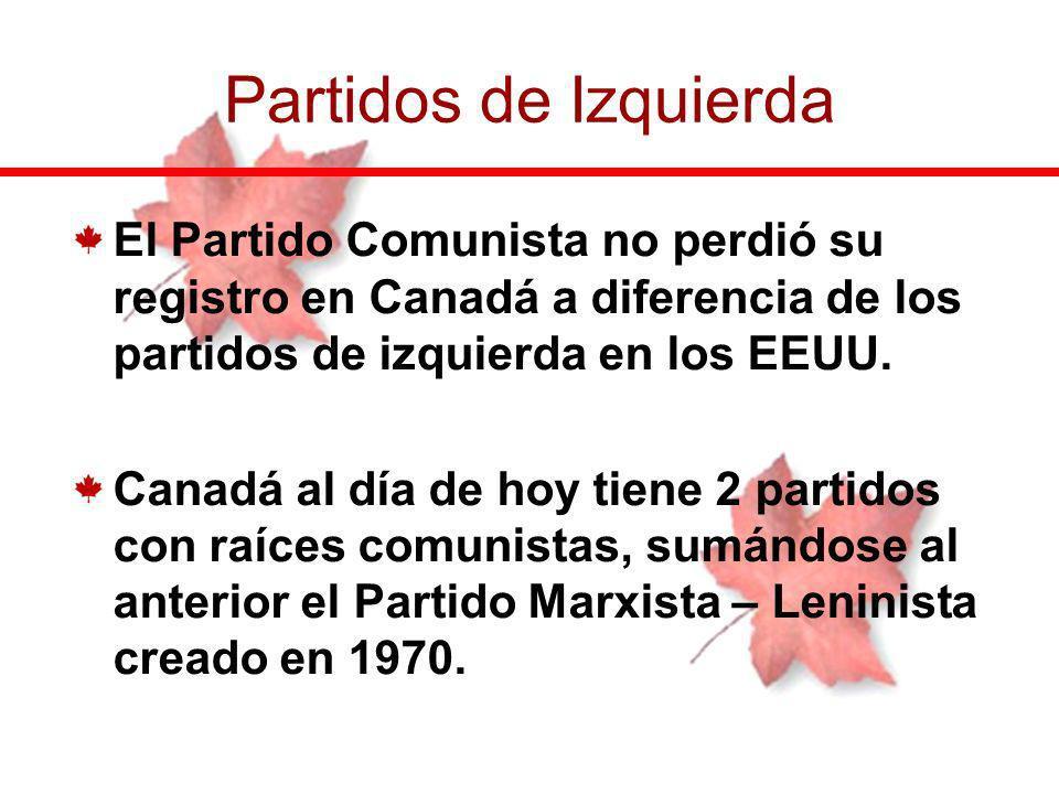 El Partido Comunista no perdió su registro en Canadá a diferencia de los partidos de izquierda en los EEUU. Canadá al día de hoy tiene 2 partidos con