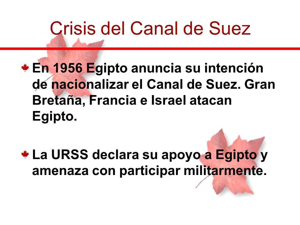 En 1956 Egipto anuncia su intención de nacionalizar el Canal de Suez. Gran Bretaña, Francia e Israel atacan Egipto. La URSS declara su apoyo a Egipto