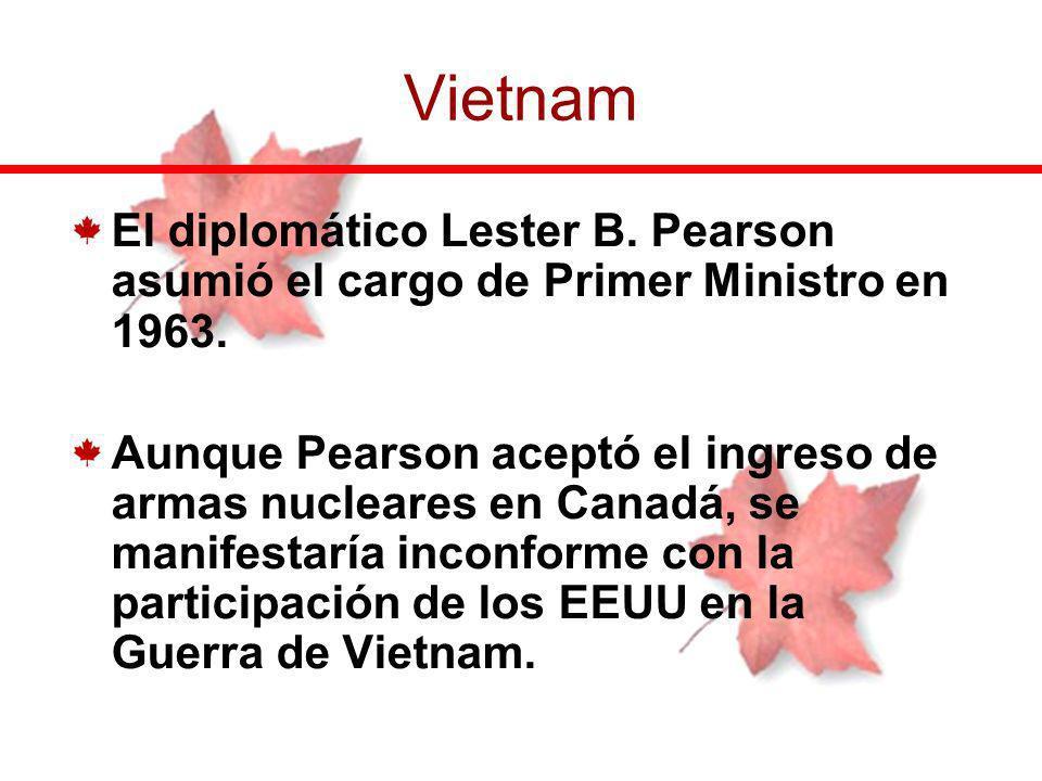 El diplomático Lester B. Pearson asumió el cargo de Primer Ministro en 1963. Aunque Pearson aceptó el ingreso de armas nucleares en Canadá, se manifes