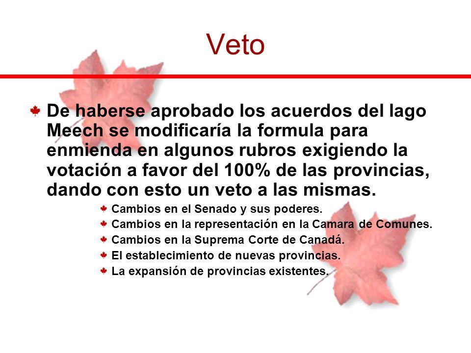 De haberse aprobado los acuerdos del lago Meech se modificaría la formula para enmienda en algunos rubros exigiendo la votación a favor del 100% de la