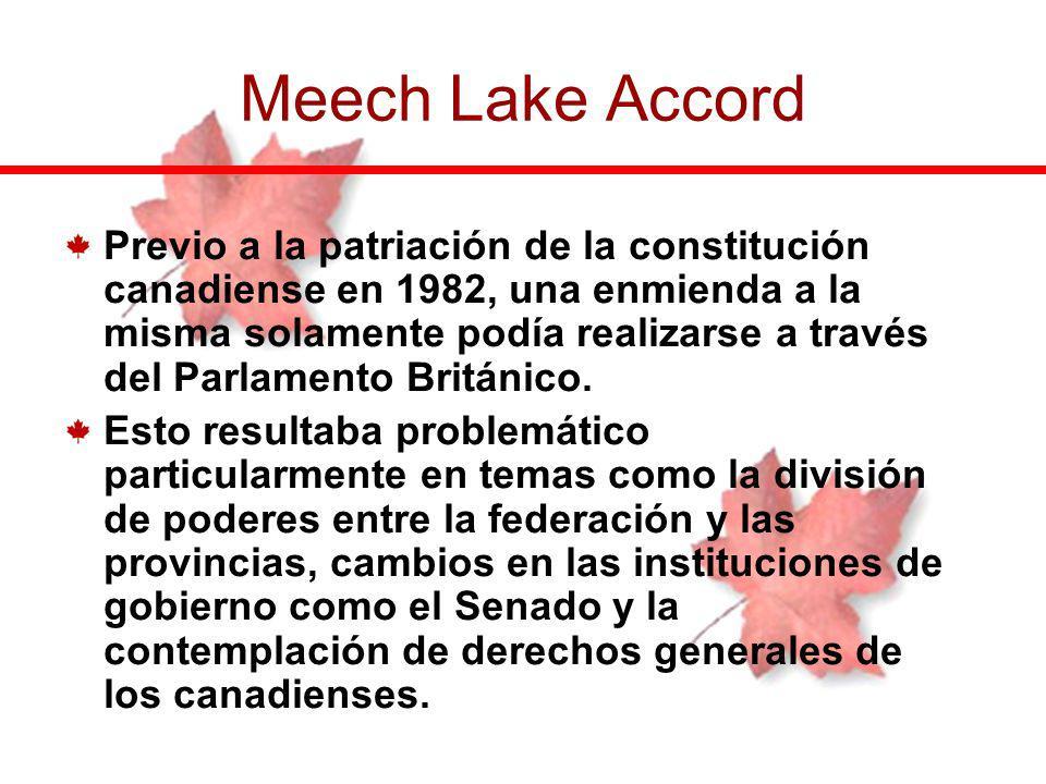 Previo a la patriación de la constitución canadiense en 1982, una enmienda a la misma solamente podía realizarse a través del Parlamento Británico. Es