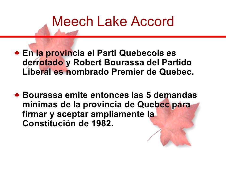 En la provincia el Parti Quebecois es derrotado y Robert Bourassa del Partido Liberal es nombrado Premier de Quebec. Bourassa emite entonces las 5 dem