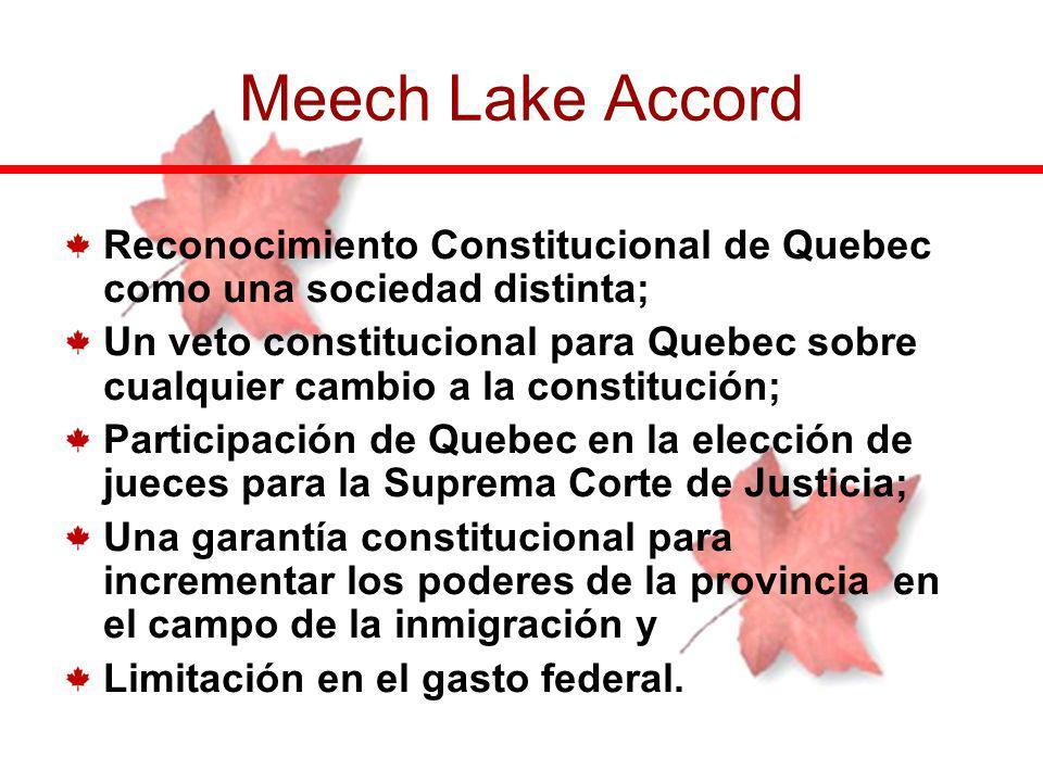 Reconocimiento Constitucional de Quebec como una sociedad distinta; Un veto constitucional para Quebec sobre cualquier cambio a la constitución; Parti