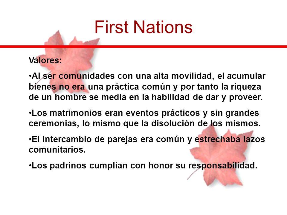 First Nations Valores: Al ser comunidades con una alta movilidad, el acumular bienes no era una práctica común y por tanto la riqueza de un hombre se