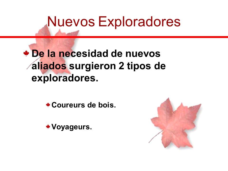 De la necesidad de nuevos aliados surgieron 2 tipos de exploradores. Coureurs de bois. Voyageurs. Nuevos Exploradores