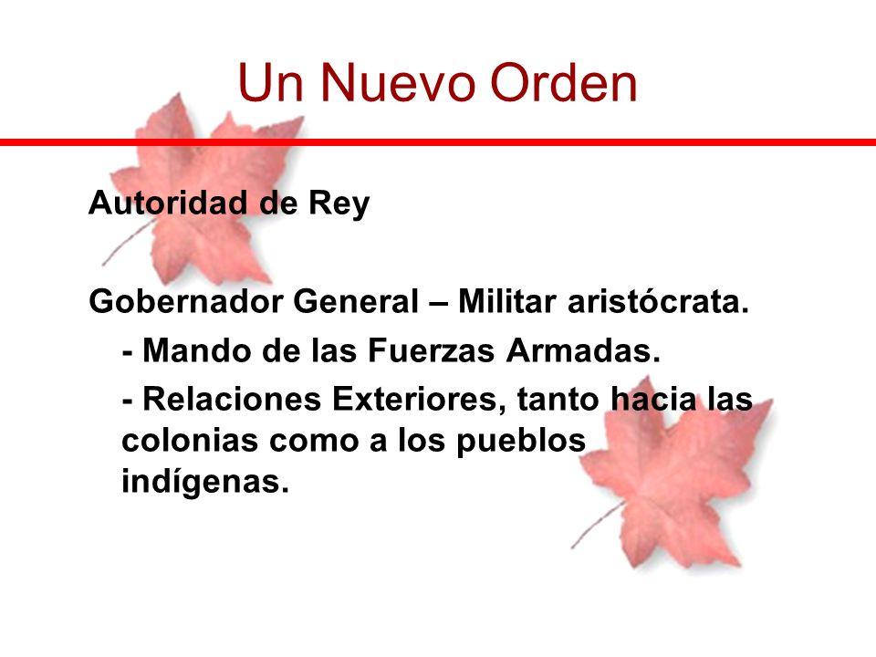 Autoridad de Rey Gobernador General – Militar aristócrata. - Mando de las Fuerzas Armadas. - Relaciones Exteriores, tanto hacia las colonias como a lo