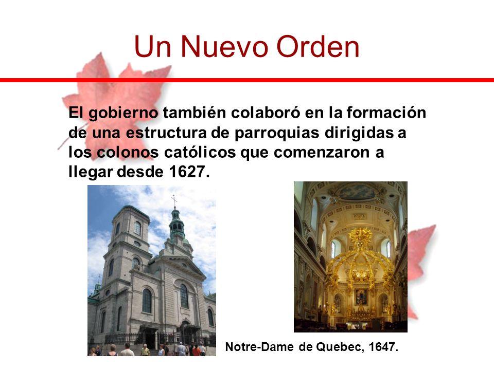 El gobierno también colaboró en la formación de una estructura de parroquias dirigidas a los colonos católicos que comenzaron a llegar desde 1627. Un