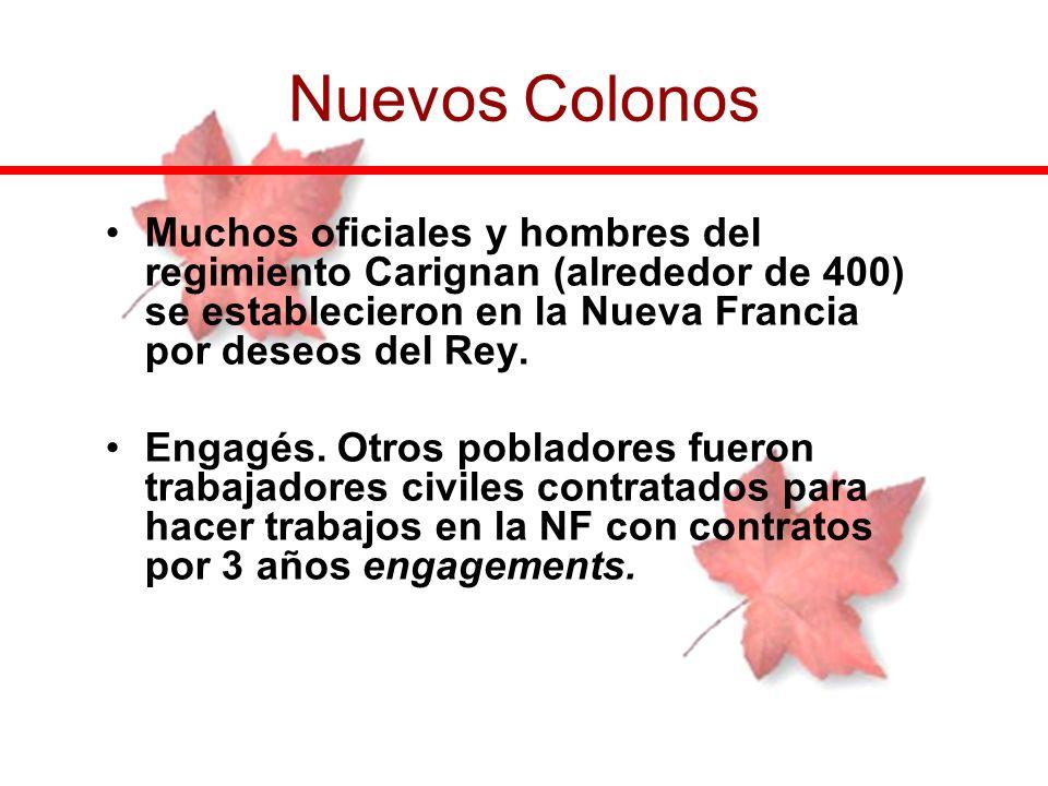 Muchos oficiales y hombres del regimiento Carignan (alrededor de 400) se establecieron en la Nueva Francia por deseos del Rey. Engagés. Otros poblador