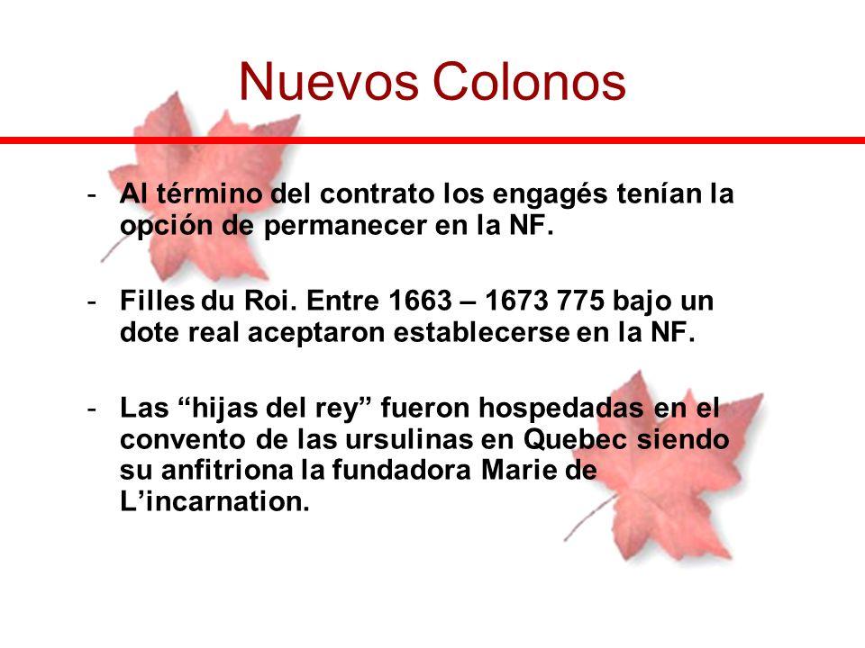 -Al término del contrato los engagés tenían la opción de permanecer en la NF. -Filles du Roi. Entre 1663 – 1673 775 bajo un dote real aceptaron establ