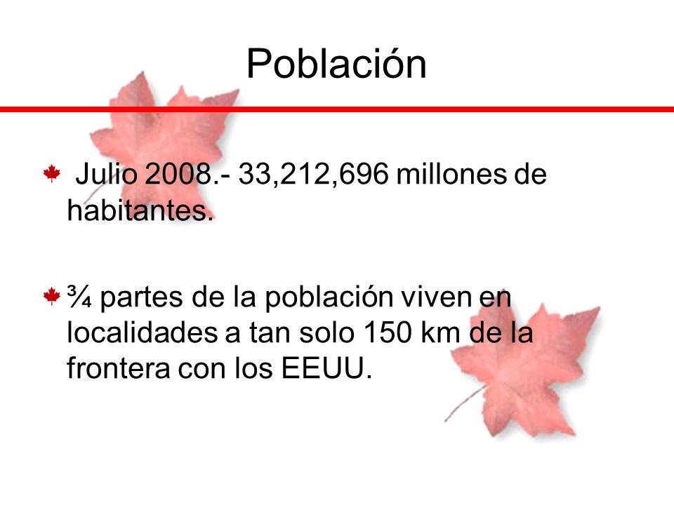 Población Julio 2008.- 33,212,696 millones de habitantes. ¾ partes de la población viven en localidades a tan solo 150 km de la frontera con los EEUU.