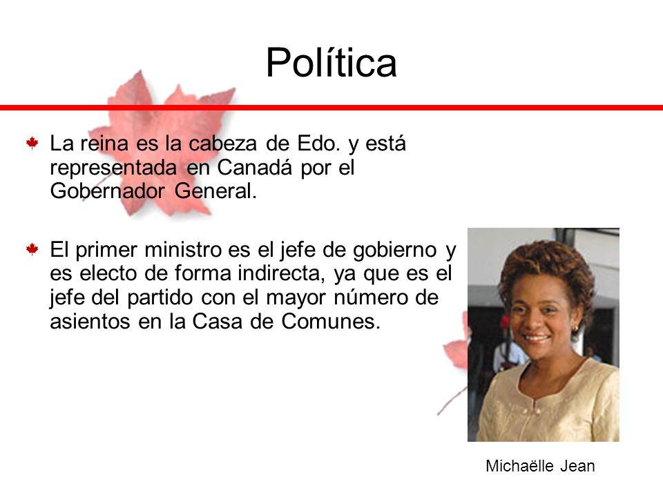 Política La reina es la cabeza de Edo. y está representada en Canadá por el Gobernador General. El primer ministro es el jefe de gobierno y es electo
