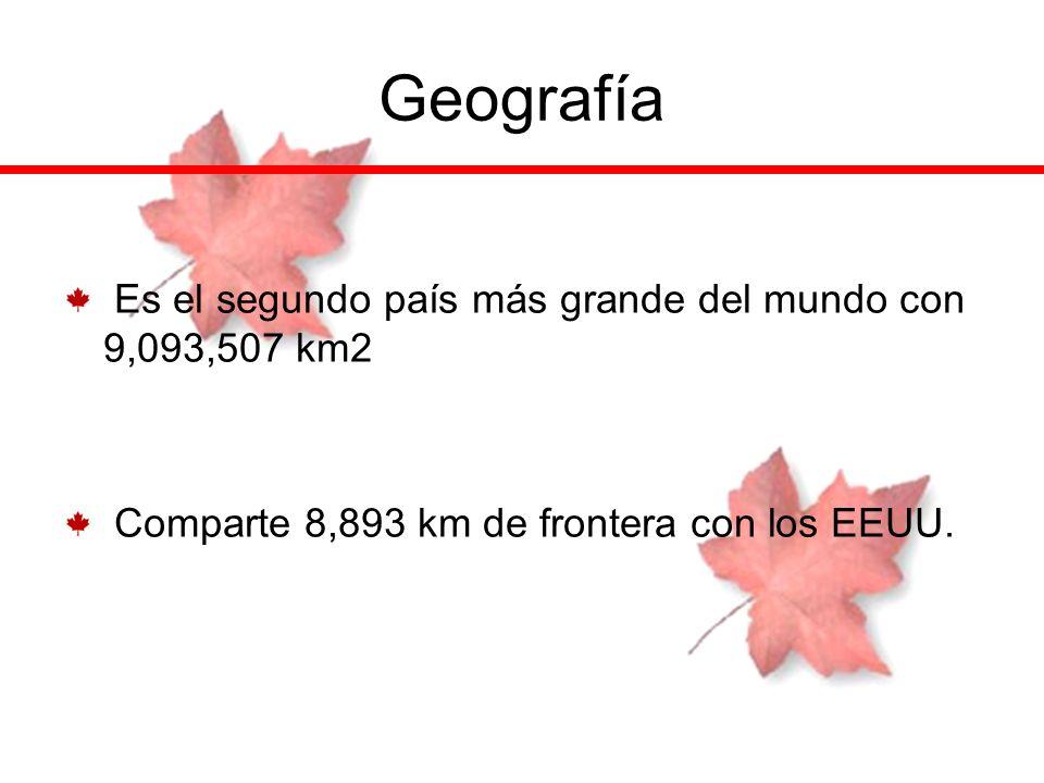 Geografía Es el segundo país más grande del mundo con 9,093,507 km2 Comparte 8,893 km de frontera con los EEUU.