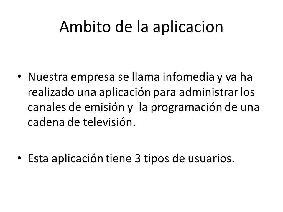 Ambito de la aplicacion Nuestra empresa se llama infomedia y va ha realizado una aplicación para administrar los canales de emisión y la programación de una cadena de televisión.
