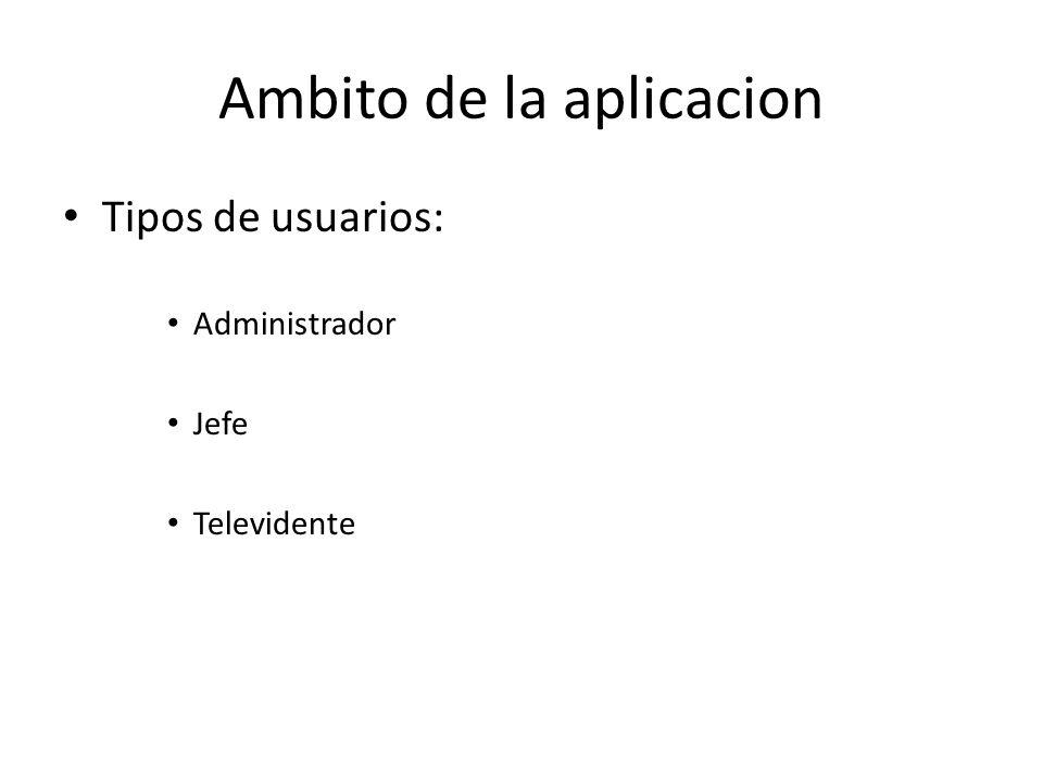 Ambito de la aplicacion Tipos de usuarios: Administrador Jefe Televidente