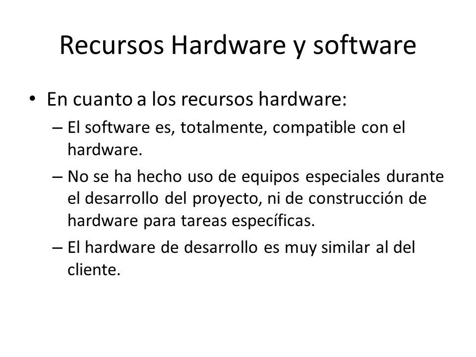 Recursos Hardware y software En cuanto a los recursos hardware: – El software es, totalmente, compatible con el hardware.