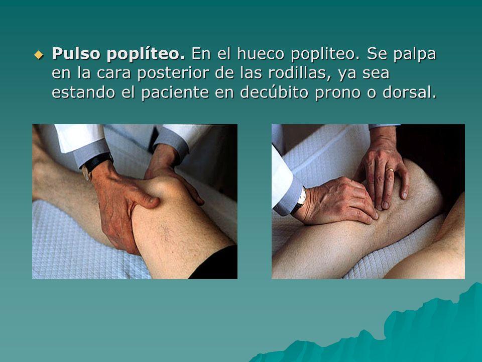 Pulso poplíteo. En el hueco popliteo. Se palpa en la cara posterior de las rodillas, ya sea estando el paciente en decúbito prono o dorsal. Pulso popl