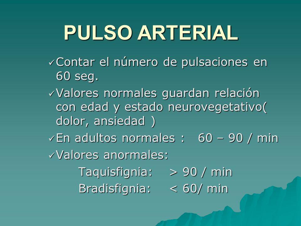 Contar el número de pulsaciones en 60 seg. Contar el número de pulsaciones en 60 seg. Valores normales guardan relación con edad y estado neurovegetat