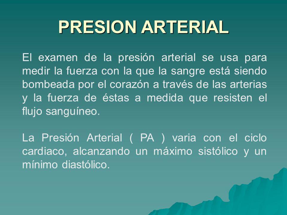 El examen de la presión arterial se usa para medir la fuerza con la que la sangre está siendo bombeada por el corazón a través de las arterias y la fu